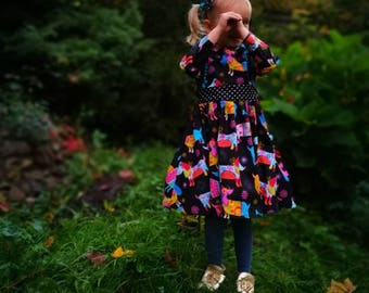 Toddler long sleeves dress, girls winter dress, girl long sleeve dress, new years outfit, dog print dress, 2018 dress, pom pom dress, 2018