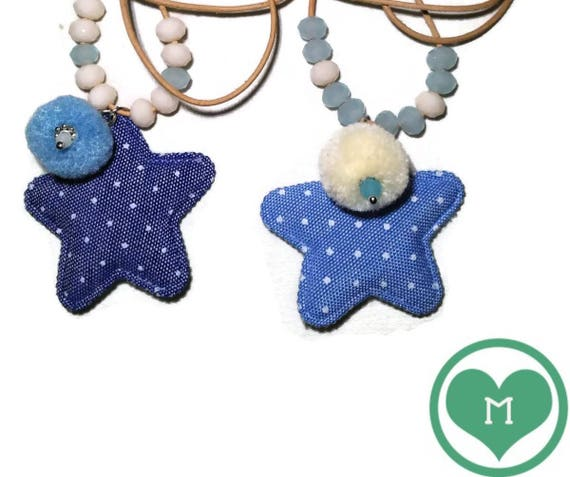 CHOKER Necklace with blue STAR and POMPON