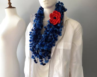 Pompom Scarf, Mulberry scarf, cocoon scarf, Navy Blue Scarf, Blue Crochet Necklace, Puffy Bubble Scarf, gift for her, Fashion Accessories