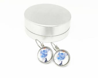 Sleepers cabochons - stem stainless steel - glass 12 mm - white stud earring - deer - hypoallergenic / Deer earrings - stainless steel