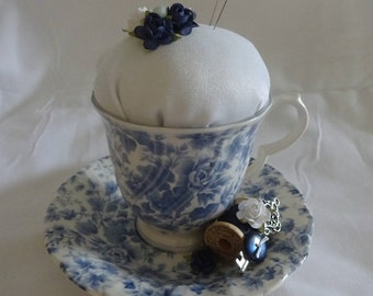 Teacup Pincushion, Gift For Sewer, Gift For Quilter, Pincushion, Sewing Room Decor,  Re purposed Teacup Pincushion, Altered Teacup