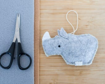 Handmade Felt Rhinoceros Ornament, Decorative Felt Animal Ornament, Felt Rhino, Nursery Decoration, Home Decor, Baby gifts, Rhinoceros