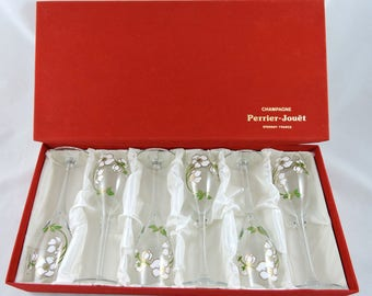 Perrier Jouet Crystal Champagne Flutes Set of 6 in Box Belle Epoque Hand Painted Art Nouveau Glasses France Wedding Bridal Shower