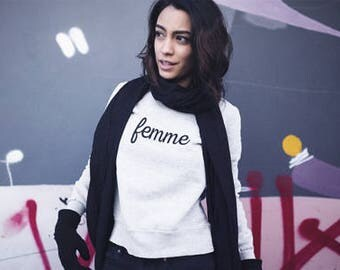 Femme: Sweatshirt, Crewneck, Slogan Sweatshirt, Quote Sweatshirt, Graphic Sweatshirt, Women's Sweatshirt, French, Woman
