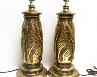 Solid brass table lamps, a pair | leaf motif | flames | texture | Art Deco | heavy brass lamps | living room lighting | vintage lamps