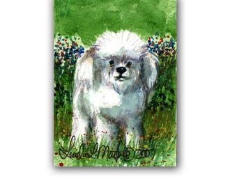 Fluffy White Dog Puppy Baby Nursery llmartin Original ACEO New Mom  Watercolor New Mom Free Shipping USA Child Children