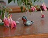 Primitive Hummingbird Sculpture, Polymer Clay Male Ruby Throated Hummingbird, Hand Painted Irridescent Clay Bird, Bird Lover Gift