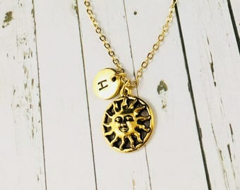 Sunshine Necklace, Hand Stamped Initial, Personalised Sunshine Pendant, Gold Sunshine Charm Necklace, Sunshine Gifts, Monogram Necklace