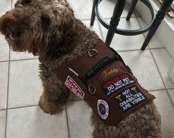 Custom Made Duck Cloth over Air Mesh Service Dog Vest. I will sew on the patches that you send me, embroider the dog's name or other wording