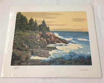 Robert Wood SEASIDE LANDSCAPE Signed Serigraph Print 20 x 24  778/1000