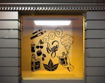Wall Window Decal Sticker Vape Shop Vaping Vape Store Logo 1833t