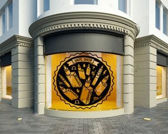 Wall Window Decal Sticker Vape Shop Vaping Vape Store Logo 1856t