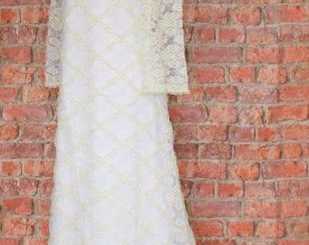 Genuine Vintage Wedding Dress Gown 60s Retro Victorian Edwardian Style Train UK 10...US 6