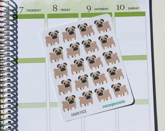 Fawn Pug Stickers (Set of 20 Stickers)
