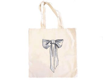 Bow Tote Bag-Cute Market Bags-Canvas Tote Bag-Grocery Bag-Book Bag-Market Bag-Bows