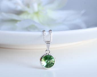 Peridot Necklace - Swarovski Peridot Crystal Necklace Sterling Silver - August Birthstone Necklace  - Dainty 8 mm Peridot Necklace -  B13