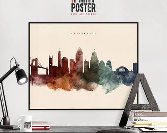 Cincinnati Art Print, Cincinnati Skyline Art, Cincinnati Poster, Wall Art, Home  Decor