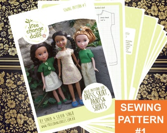 Tree Change Dolls® Sewing Pattern #1, Basic Dress, Skirt, Pants & Shorts, by Sonia and Silvia Singh