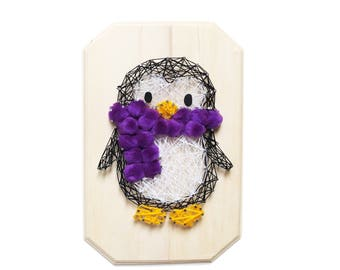 DIY kit, Penguin String art, supplies, pattern and Instructions, Wall decor, nursery room, Do-it-yourself