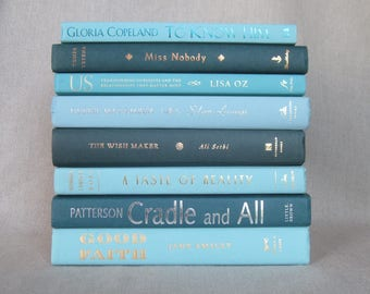 Shades of Turquoise and Teal Book Bundle, Decorative Book Set, Wedding Books