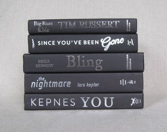 Decorative Book Set in Black, Book Bundle, Wedding Centerpiece, Home Staging, Black Deocr, Book Collection, Silver Titles, Stack of Books