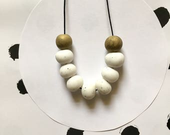 White Marble Necklace, Polymer Clay Necklace, Handmade, White Marble, Polymer Clay Bead Necklace, Beaded Clay Necklace