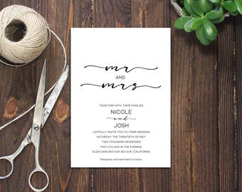 INSTANT DOWNLOAD PDF Template 5x7 Mr and Mrs Invitation Wedding Invitation Elegant calligraphic Wedding Invites Wedding Printable Digital