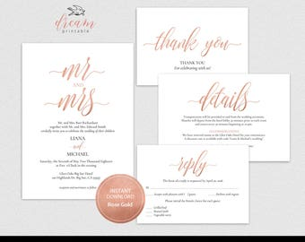 INSTANT DOWNLOAD Editable Pdf Template Set 5x7 Invitation,4x6 Details, 3.5x5 Reply RSVP, 3.5x5 Tent Style Thank You card Rose Gold #DP140_S1