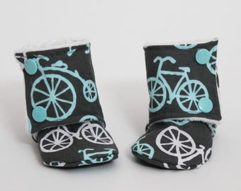 Kids slippers, Baby booties, Bicycles, Blue, Grey, White, Stay-on boots, Minky, Cotton, Toddler, Warm and Cozy, Boy, Cute gift idea, Winter