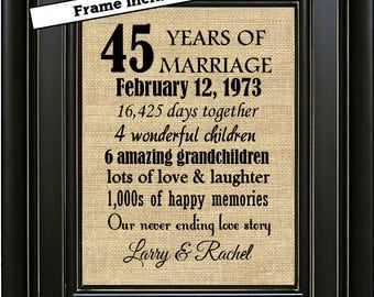 FRAMED 45th Anniversary Gift/Anniversary Gift for couple/Anniversary Print/Gift for Parents/45th Wedding Anniversary gift/Gift for husband