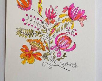 Folk Art Original Watercolor Painting Fresh Flowers Floral Garden Expressive Modern