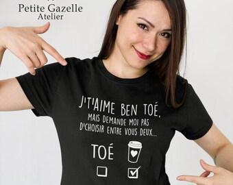 COLLAB with Maman Caféine.J't'aime ben toé.Unisex Crewneck Tshirt.Petite Gazelle Atelier