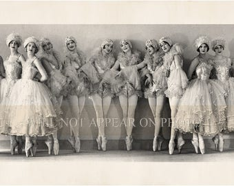 "18"" Long Vintage Ballerinas Photograph Reprint Vintage Photo"