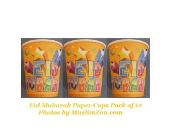 Eid Mubarak Cups Pack of 12 Islamic Party Stuff Muslim Ramadan Celebration Gifts