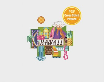 Hawaii Cross stitch - PDF Instant Download - Cross-stitch Pattern - Modern Retro