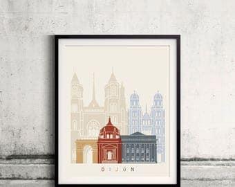 Dijon skyline poster - Fine Art Print Landmarks skyline Poster Gift Illustration Artistic Colorful Landmarks - SKU 2448