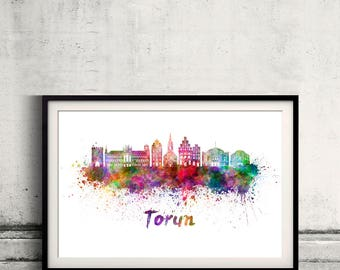 Torun skyline in watercolor over white background with name of city - Poster Wall art Illustration Print - SKU 2807