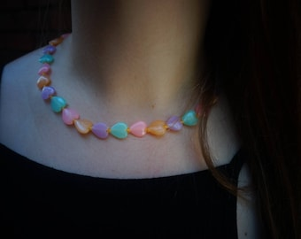 90's Pastel Heart Necklace
