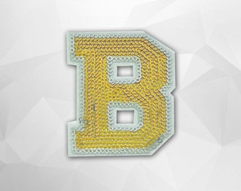 Alphabet Letter B Iron on Patch - Gold Sequin H, Glitter Applique Embroidered Iron on Patch - Size 5.8x7.5 cm#T2