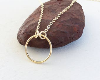 Circle Necklace, Small Infinity 14K Gold Filled Ring Necklace, Simple Circle, Minimalist, Layering Necklace