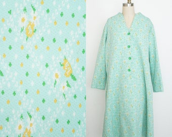 Vintage 1960s Floral Day Dress - Long Sleeve - Button Front - Teal Yellow Roses - Women's Large Extra L - Plus Size