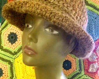 Crochet Hat Fedora in Mocha Brown Hand Crocheted Unisex Men Women