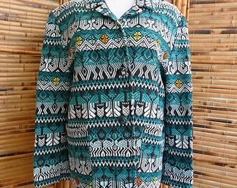 Vintage 1980s Guatemalan Handwoven Cotton Jacket Blazer - Medium/Large