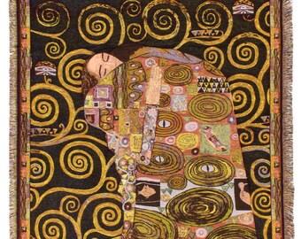 Black Klimt Throw Blanket - The Fulfilment Tapestry Throw - 56x56 Belgian Tapestry Throw - Gustav Klimt Design Throw Blanket - TT-7143/40