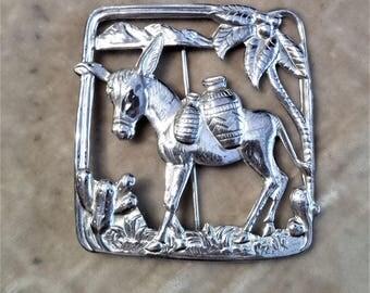Silver Mule Brooch