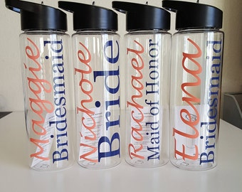 One Bridesmaids Water Bottle, Wedding Party Water Bottle, Bridal Party Water Bottle, Clear Customized 24 oz Water Bottle