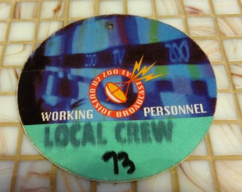 This is a Rare 1991-93 U2 Zoo TV Outside  Broadcast Working Personnel Access Pass Used By Worker See Pics