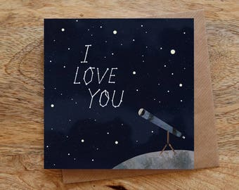 I LOVE YOU Greeting Card - Constellations Card, Stars Greeting Card, Love Greeting Card, Valentines Day Card, Night Sky