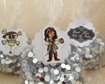 Pirates of the Caribbean, Jack Sparrow Party Favor Bags with Tags - Set of 10