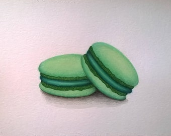 Minty Macaroons Original Watercolor Painting 6x8